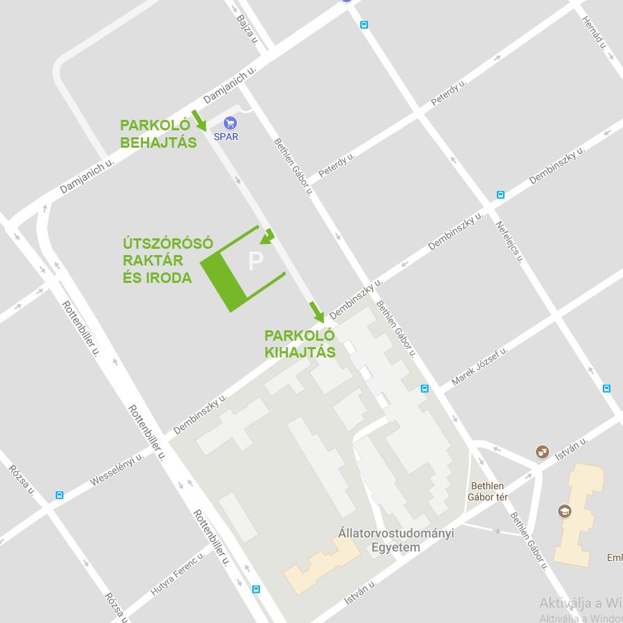 1071 Budapest, Dembinszky u. 12, SPAR parkoló